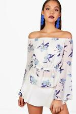 Boohoo Womens Printed Woven Off The Shoulder Top