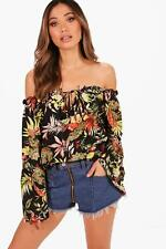 Boohoo Womens Floral Woven Off The Shoulder Top