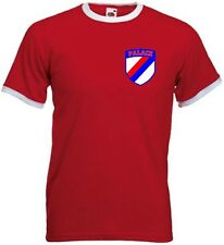Crystal Palace Style Football Team FC Retro Shield T-Shirt  - All Sizes