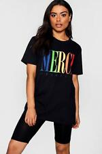 Boohoo Womens Merci Graphic Tee Cycle Short Co-ord Set