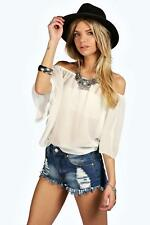 Boohoo Womens Woven Off The Shoulder Top