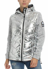 SUPERDRY DONNA ZIP STORM Ibrido METALLIZZATO Ziphood ARGENTO SHINE GRITTY