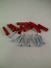 WOOD SCREWS WITH RED RAWL / WALL PLUGS HANDY PACK OF No 6 BZP 1 INCH / 25MM LONG