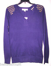New-Michael kors Viola Scollo a V da Maglione + Color Oro Accent Anello di