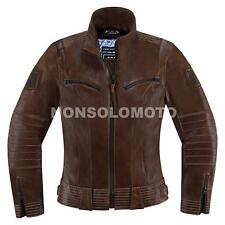 Giacca Donna Icon 1000 Pelle Fairlady Marrone Moto Strada Scooter Naked
