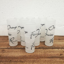 Set Of Script Hi Ball Juice Tumblers 280ml Black White Soft Drinking Glasses