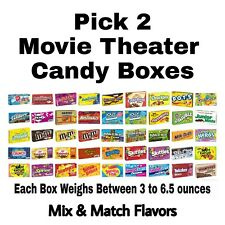 Pick 2 Movie Theater Candy Boxes 3-6 oz each: Hot Tamales, M&M's & More