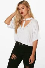 Boohoo Womens Plus Eyelet Strap Detail T-Shirt