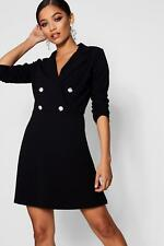 Boohoo Womens Blazer Dress With Military Buttons