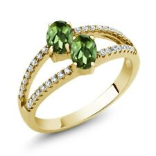 1.41 Ct Oval Green Tourmaline Two Stone 18K Yellow Gold Plated Silver Ring