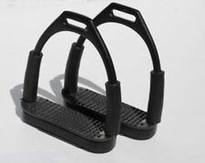 NEW Rhinegold BLACK Stainless Steel Flexi Horse Riding Stirrup Irons with treads