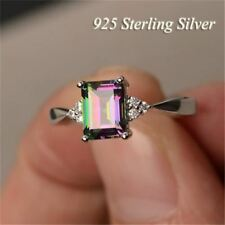 925 Sterling Silver Natural Rainbow Topaz Gemstone 3 side CZ  Ring