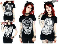 Restyle Occult Gothic Witchcraft Funeral Moon Sphynx Cat Punk Top Tee T-shirt