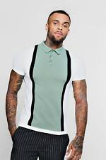 Boohoo Mens Colour Block Short Sleeve Knitted Polo