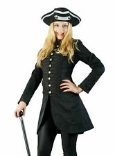 Eleganter Steampunk Uniform Damen Piraten-Mantel kurz Baumwolle Schwarz LARP
