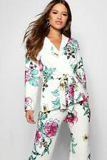Boohoo Womens Petite Floral Print Belted Blazer