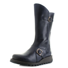 Womens Fly London Mes 2 Rug Blue Leather Mid Calf Boots UK Size