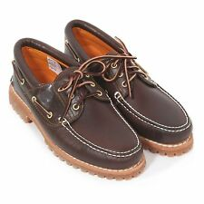 Timberland Men's 3-Eye Classic Leather Lug Pull Up Deck Shoe Brown 30003