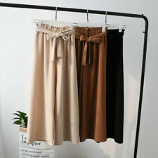 Fashion Women Palazzo Pants With Belt Wide Leg Solid Loose Trousers Culottes OL