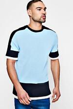 Boohoo Mens Colour Block Knitted T-Shirt