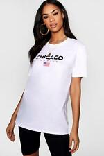 Boohoo Womens Chicago Graphic Tee Cycle Short Co-ord Set
