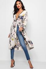 Boohoo Womens Oriental Floral Belted Wrap Kimono
