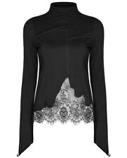 Punk Rave Womens Tunic Top Black Gothic Steampunk VTG Lace Cutout Long Sleeve