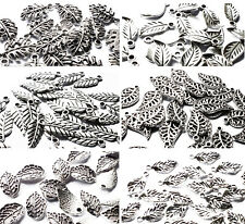 25 Silver tone Metal Leaf Charms Pendants Autumn Winter, Craft Jewellery, Leaves