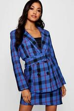 Boohoo Womens Woven Check Double Breasted Belted Longline Blazer in Cobalt size