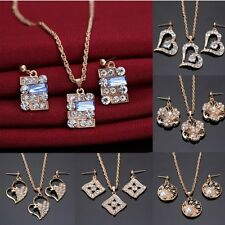 Prom Wedding Bridal Crystal Rhinestone Pearl Necklace Earrings Jewelry Set Hot