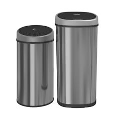 50L Stainless Steel Automatic Sensor Touchless Chrome Waste Dust Bin Round/Oval