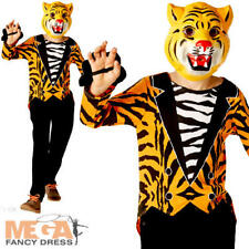 Mr Tiger Kids Fancy Dress Zoo Animal Boys Girls World Book Day Costume Outfit