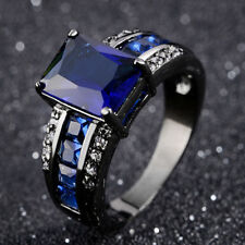 Anniversary Womans Mans Blue Sapphire Black Gold Filled Ring Gift Size 7-11