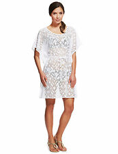 New M&S COLLECTION White Crochet Cover-Up Belted Kaftan Sz UK 18