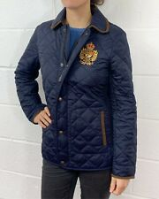POLO RALPH LAUREN WOMENS NEW GENUINE NAVY PLF QUILTED GOLD CREST JACKET COAT