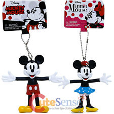 Disney Retro Bendable Llavero Mickey Mouse Minnie Mouse Figura Sostén de Llaves