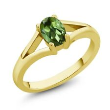 0.85 Ct Oval Green Tourmaline Yellow Gold Plated Silver Ring