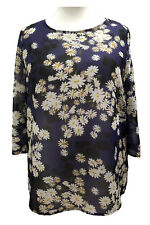 Plus Size by Sofo Tunic Tops in Purple Daisy Floral Long Sleeves * SIZE 16 - 36