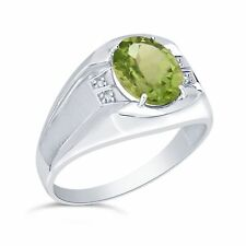 Argento Sterling 10 x 8mm Originale Peridoto e Diamante per Uomo Anello