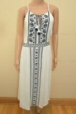 New  Abercrombie & Fitch White With Navy Embroidered Dress Sz L UK 14-16