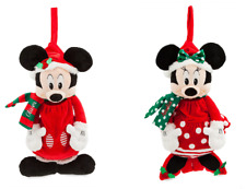 Disney Store Minnie Mickey Mouse Plush Christmas Stocking Red 2018