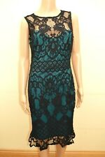 New Lipsy Lace Jade & Black Bodycon Dress Sz UK 10 & 14