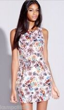 New Lipsy White Structured Floral Printed Dress Sz UK 8