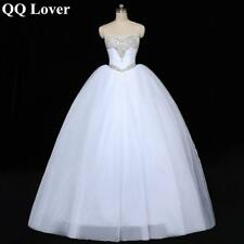 QQ Lover 2019 Luxury Crystal Tulle Ball Gown Wedding Dresses Sparkly Rhinestones