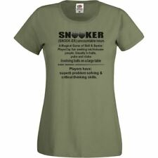 Ladies Olive Green Snooker Defined T-Shirt Shirt Pool Humour Funny