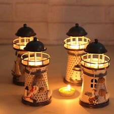 Deco style mediterraneen phare en fer bougie LED Lampe Maison decoration
