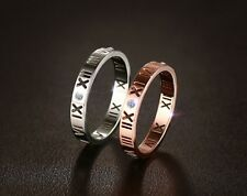 Fashion Mans Womans Hollow Rome Number Size 6,7,8 Titanium Steel Rings Gift