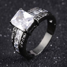 Mans Womans Jewelry White Topaz Black Gold Filled Engagement Ring Size 8,10
