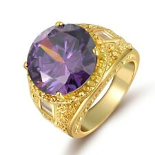 Glittering Size 7-10 Amethyst Gold Filled Mans Womans Wedding Jewelry Rings Gift