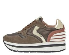SNEAKER DONNA VOILE BLANCHE MAY POWER VELOUR TESSUTO LUX DECOLORATO TALPA MARRON